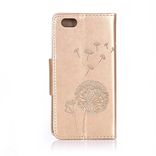 SainCat Apple iPhone 6 Custodia in Pelle,Anti-Scratch Protettiva Corpertura Caso Custodia Per iPhone 6s,Elegante Creativa Dipinto Pattern Design PU Leather Flip Ultra Slim Sottile Morbida Portafoglio  Dente di leone diamante,oro