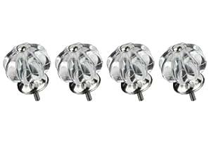 Premier Housewares 2490020 Lot de 4 Poignées de Porte/Tiroir de Meuble Style Victorien en Acrylique Transparent