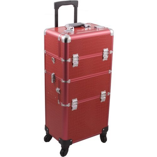 HIKER Makeup Rolling Case HK6501 2 in 1 Hair Stylist Orgainzer, 3 Slide and 1 Removable Tray, 4 Wheel Spinner, Locking with Mirror, Extra Lid and Shoulder Strap, Red Crocodile by Hiker (Hair Spinners)
