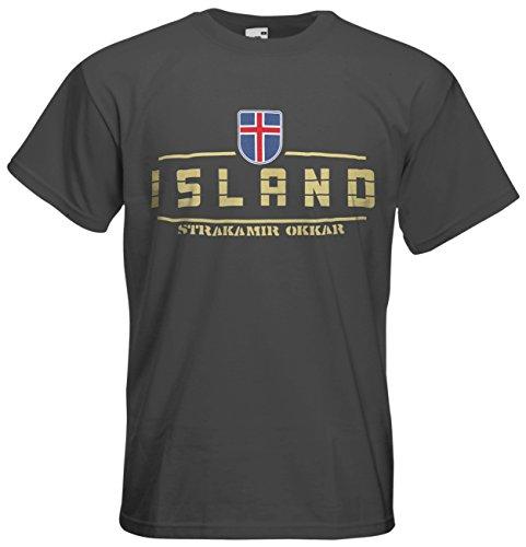Island Fanshirt T-Shirt Länder-Shirt im modernen Look Graphit