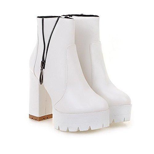 VogueZone009 Donna Punta Chiusa Bassa Altezza Tacco Alto Puro Luccichio Stivali Bianco