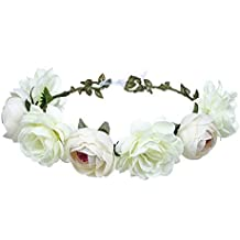 Ssowun Couronne de fleurs Mariage,Fletion Couronne de Fleurs Femme Filles  Bandeaux de Fleurs pour
