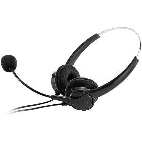 Crazo Auriculares 4Pin RJ11 de Telefonista Headset + MIC para Centro de Llamadas Negro