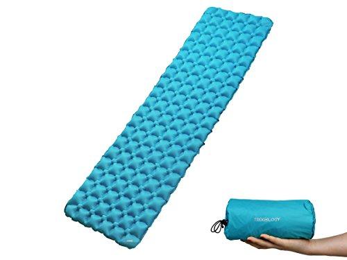 Trekology aufblasbare Luftmatratze, Isomatte, Campingmatte zum Schlafen – Trockensack – kompakte Leichtgewichtige Campingmatte, Ultraleichte komfortable Rucksackreisen-Matratze, Zelt, Hängematte