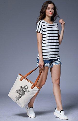 S.CHU Women's Animal Giraffe Canvas Leather Tote Handbag Ladies Shoulder Bag Beige