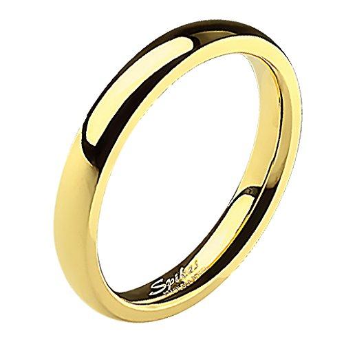 Mianova Band-Ring Edelstahl Herrenring Damenring Partnerring Trauring Verlobungsring Damen Herren Gold Größe 58 (18.5) Breit 4mm