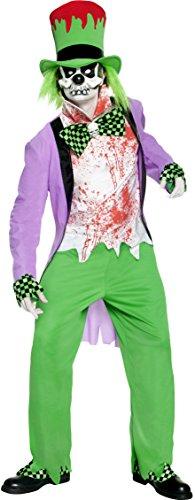 chter Hutmacher Kostüm, Jacke, Hose, Hut mit Haar, Hemd, Maske, Überschuhe und Handschuhe, Größe: M, 32894 (Albtraum Halloween Kostüme)