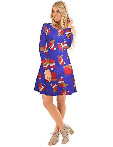 Ruiyige Women's Girl's Xmas Love Animal Print Christmas Dress Mini Dress Blu