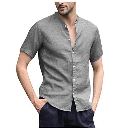 Fascino-M -Uomo Camicia in Lino Slim Fit Estate Elegante Casual Camicie Spiaggia Regular Fit Uomo Colore Puro Classico Lavoro Shirts