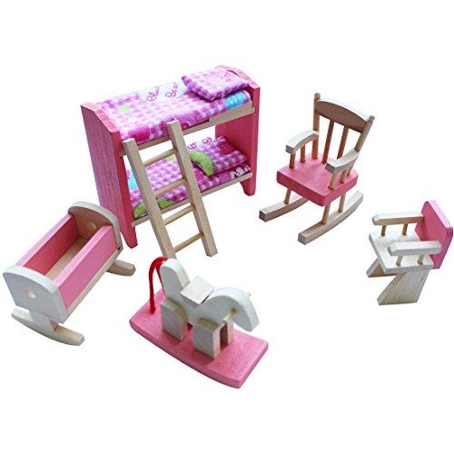 iEFiEL Puppenhaus Möbel Zubehör Holzspielzeug Einrichtung Kleinkind Spielwaren (6tlg Schlafraum Set)