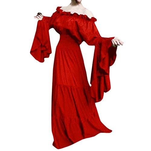 Strungten Frauen Retro Mittelalter Renaissance Cosplay Vintage Party Club Elegante Maxikleid Langarm One-Shoulder-Kleid