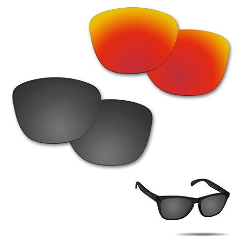 Fiskr Anti-Saltwater Polarisierte Ersatz Gläser für Oakley Frogskins-Sonnenbrille 2Paar Verpackt, Stealth Black & Fire Red