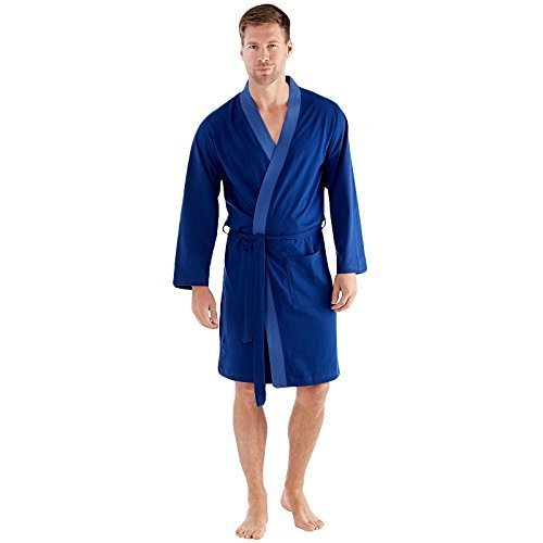 Herren Bademantel leicht baumwollreich Trikot Sommer - Blau, Large