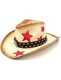 Man Y Cappello da Cowboy Occidentale da Donna in Paglia con Fascia in Pelle  Punk Tessuta a f537011fd6d4