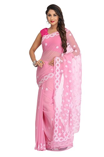 ADA Hand Embroidered Ethnic Chikankari Pink Georgette Saree for Women Casual Wear...