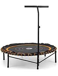 Klarfit Jumpadalic Trampolin Minitrampolin Indoortrampolin Gartentrampolin (122cm Durchmesser, gelenkschonende Federung, verstellbare Griffhöhe: 104cm/111cm/118cm) orange