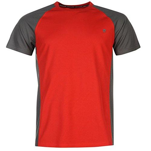 Pierre Cardin raglan t-shirt da uomo rosso/antracite top maglietta, Red/Charcoal, S