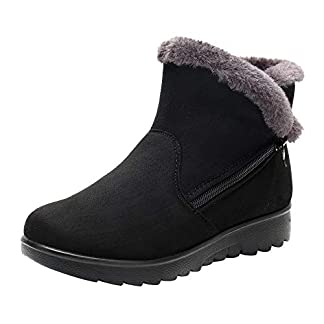 BaZhaHei Women's Snow Boots Ladies Winter Ankle Boots Round Toe Martin Boots Short Plush Snow Boots Fur Footwear Zipper Warm Shoes Size 2.5-7
