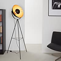 Briloner Leuchten 1380-015 Lámpara de Pie LED Retro/Vintage, Estilo Industrial, Iluminación de Salón, Máx. 60 W, 72.3 x 42 x 160 cm (Largo x Ø x Alto) E27, Schwarz-Gold-Matt, 160 x 72.3 x 160 cm