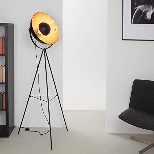 Briloner Leuchten LED Stehleuchte, Stehlampe, Studiolampe, Studioleuchte, Wohnzimmerlampe, Wohnzimmerleuchte, Max. 40W Vintage Lampe, Metall, E27, Schwarz-Gold-Matt, 160 x 72.3 x 160 cm
