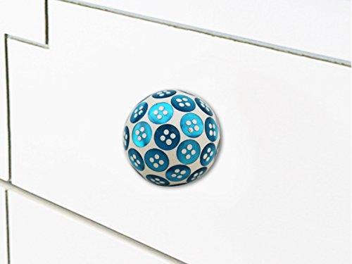 Indianshelf Handmade 6 Stück Holz- Türkis Button künstlerische Schublade Knöpfe Kommode Schrank zieht Möbel Kleiderschrank Türgriffe handgefertigte Designer Vintage Look WRK-76