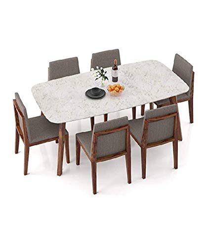 SSH Sheesham Wood Marble Top 6 Seater Antique Dining Table (Brown)