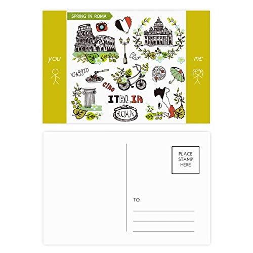 DIYthinker Spring Colosseum Roma Italy Graffiti Friend Postkartenset, Danksagungskarte, Mailing-Seite, 15 x 9 cm, mehrfarbig, 20 Stück