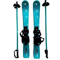 Kids Plastic Snow Skis & Poles - Age 2-4 (70cm)