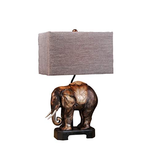 XUANLAN Lámpara de Mesa de Elefante de Resina Americana Lámpara de mesita de Dormitorio Retro Sala de Estar Lámpara de Mesa Decorativa Creativa