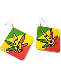 Dojore - Pendientes de madera con diseño de hojas de marihuana y rayas de rasta 6