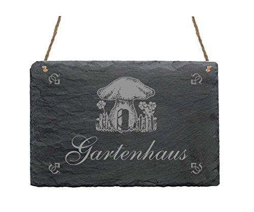 Schiefertafel « GARTENHAUS » mit MOTIV Haushalt Dekoschild Dekoration Gärtner Florist