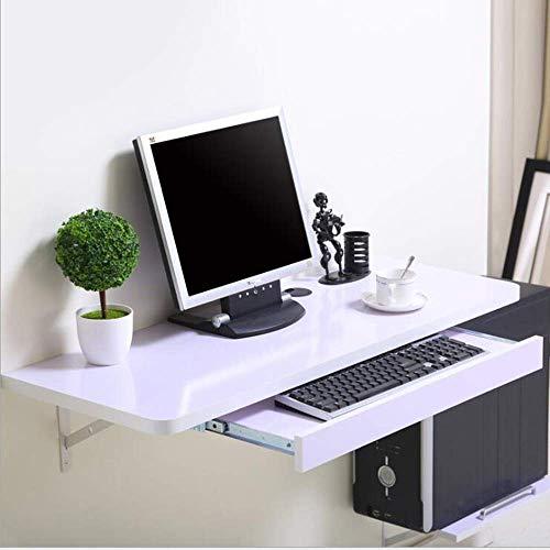 BinLZ-Table Massivholz Wand Buch Desktop Computer Haushalt Wandbehang Tisch Kleine Wohnung Büro, Weißer Ahorn, 120 * 40 cm -
