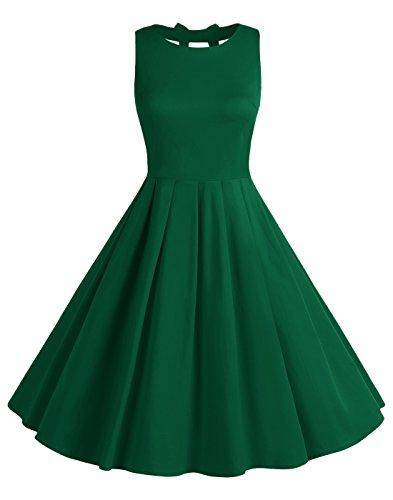 ag 50s Polka Dot Bowknot Rockabilly kleid Swing Kleid BLV8001 ArmyGreen L (Polka Dot Pinup Kleid)