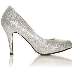 Pearl - High Heels Stöckelschuhe silber Glitter Glitzer Stilettos klassische Pumps - Silber Glitzer, Synthetik, 7 UK / 40 EU