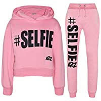 A2Z 4 Kids® Girls Tracksuit Fleece Hooded Crop Top Bottom Jogging Suit - T.S Crop #Selfie Baby Pink 7-8