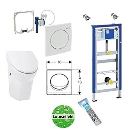 Urinal Komplett-Set: Geberit DuofixBasic, Samba Betätigungsplatte, Laufen Urinal