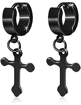 bkwear Klapp Creolen CR 32 bk3 Anhänger Kreuz Schwarz Ohrringe Edelstahl 11 mm Durchmesser