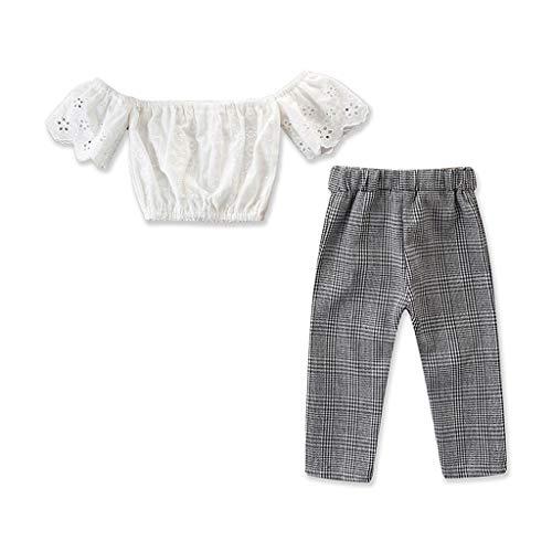 dung Jungen Mädchen, YanHoo Kleinkind Kinder Baby Mädchen Outfits Kleidung Schulterfrei Tops Mädchen Schulter Oberteile + Karohose 2 Stück ()
