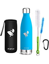 Aorin Doppia bottiglia per vuoto in acciaio inossidabile, processo di verniciatura a polvere, resistente ai graffi, facile da pulire.(Azzurro-500ml)