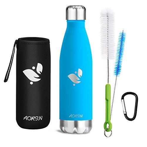 Aorin Vakuum-Isolierte Trinkflasche aus Hochwertigem Edelstahl - 24 Std Kühlen & 12 Std Warmhalten Pulverlackierung Kratzfestigkeit Leicht zu reinigen. (hellblau-750ml)