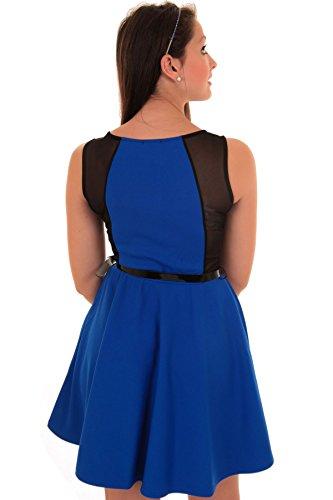 Damen Frauen Ärmelloses Skater Ausgestelltes Netz Einsatz Kleid Blau