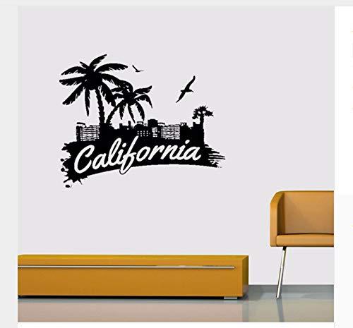 (Kalifornien Zeichen Palmen Seevögel Home Dekoration Aufkleber Vinyl Wandaufkleber 55X95Cm)