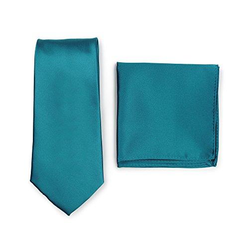 Puccini Krawatte + Einstecktuch Set Herren, Einfarbig, 20 Farben, Satin-Glanz, Handarbeit, Hochzeit - Alltag - Büro (Petrol)
