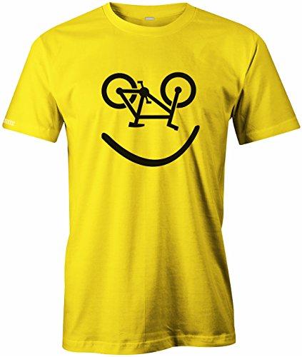 Bike Smiley - Fahrrad Hobby - HERREN T-SHIRT in Gelb by Jayess Gr. S (T-shirt Fahrrad Gelb)
