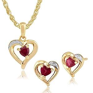 Gemondo Ohrstecker 9 Karat (375) Gelbgold Rubin Diamant Herzform 45 cm