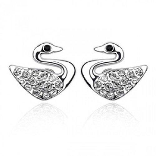 Boucles d'oreilles cygne cristaux swarovski elements plaqué or blanc Blanc