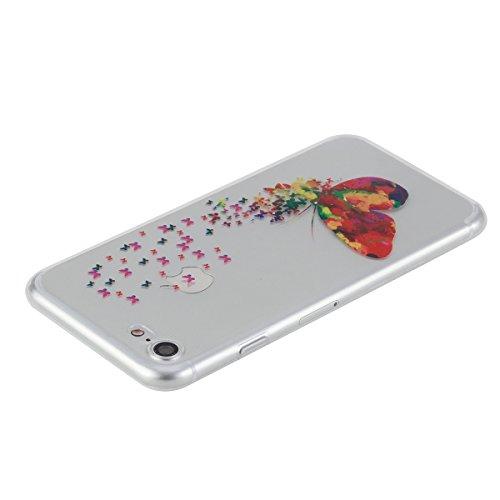 Apple iPhone 7 Hülle,iPhone 7 Transparent Crystal Klar Case,Ekakashop Ultra Dünn Slim Modisch Durchsichtig I Believe I Can Fly Muster Weiche Silikon TPU Flexible Gel Case Crystal Defender Protective S Magische Schmetterlinge