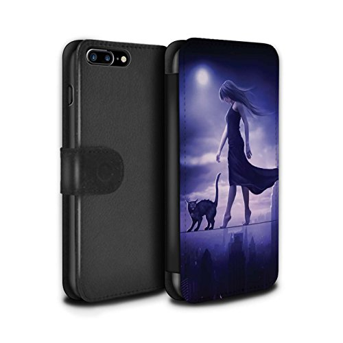 Officiel Elena Dudina Coque/Etui/Housse Cuir PU Case/Cover pour Apple iPhone 7 Plus / Somnambule/Insomnie Design / Magie Noire Collection Somnambule/Insomnie