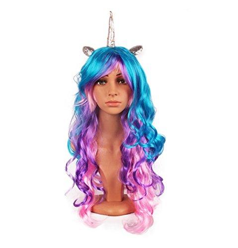 us-Einhorn, Horn-Stirnband, Haarteil, Regenbogen, Perücke, perfekt als Party-Dekoration oder Cosplay-Kostüm.  (Einhorn Teen Kostüme)