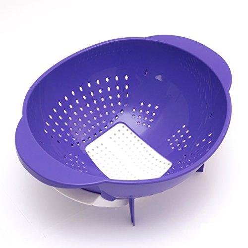 Lantelme 5757 Nudelsieb- Seiher Durchmesser 24 cm mit Ausfallöffnung Kunststoff Farbe violett und weiss